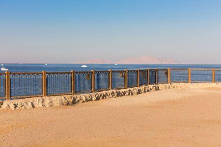 el sheikh: Fenced lookout on the coast of Egypt. Sharm El Sheikh