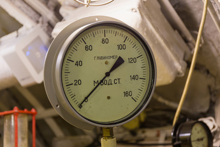 depth gauge: depth gauge on a diesel submarine Stock Photo