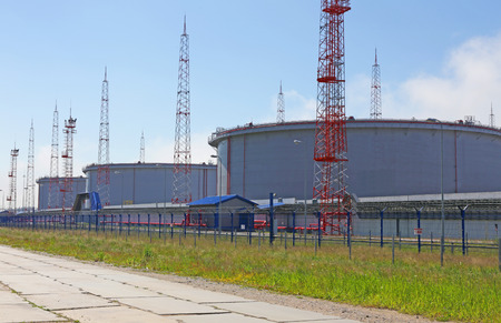 bannister: Storage tanks for fuel oil terminal in the port