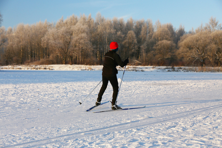 crosscountry: athlete preparing for a cross-country skiing ridge course Stock Photo