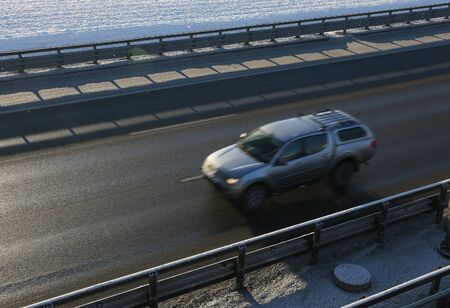 overtake: moving car on highway. view from above. Stock Photo