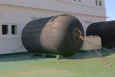 black moor: mooring fenders on the icebreaker deck Stock Photo