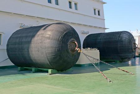 damper: mooring fenders on the icebreaker deck Stock Photo