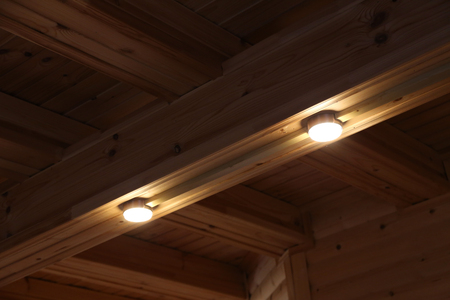 veining: lights built into the ceiling decorative beams Stock Photo