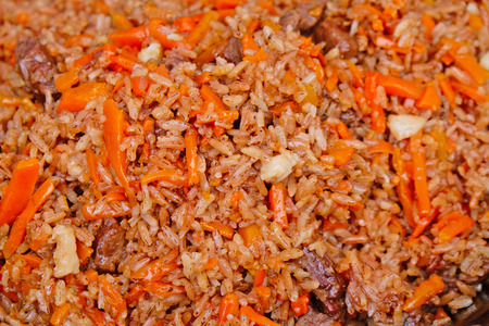 dagestan: freshly prepared pilaf closeup