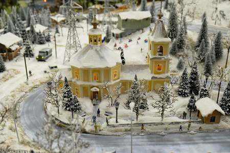 approximation: One of the elements of Grand maket Russia. The picture depicts the Orthodox Church on a winter day in one of regionof Russia.