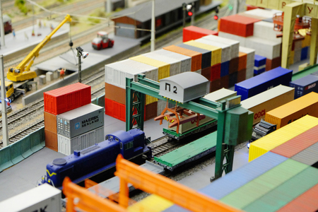 approximation: Saint Petersburg, Russia - September 18, 2016: a fragment of a freight rail terminal in Russia at the exhibition of Grand maket Russia. Stock Photo
