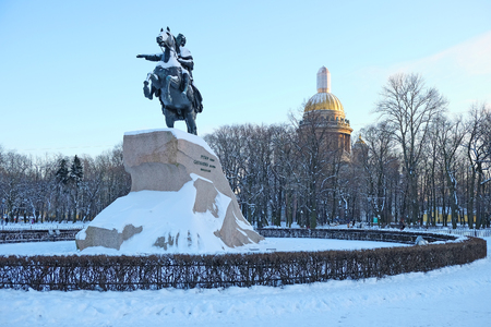 horseman: Monument of Russian emperor Peter the Great, known as The Bronze Horseman. St. Petersburg, Russia