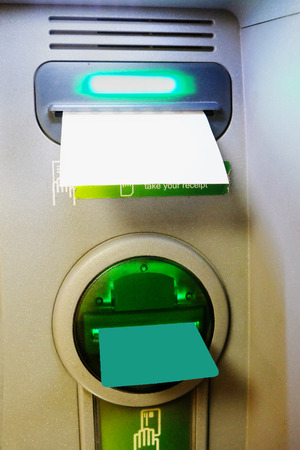 Bank card and cheque in ATM