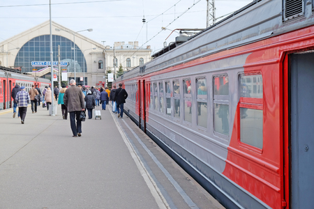 Saint Petersburg, Russia - may 04, 2017: the commuter train arrived at the station and passengers out of the railcar.