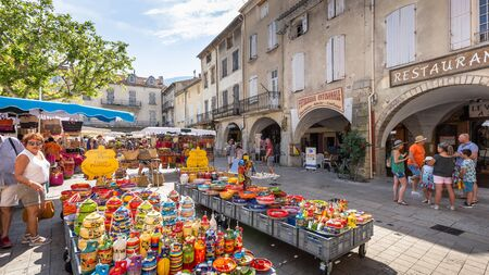 Nyons Dr?me Provence France 07 29 2018 View of the Proven?al market in the city of Nyons, France