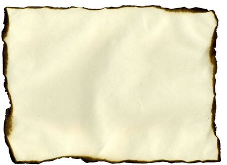 baggy: old paper sheet with burned edges Stock Photo