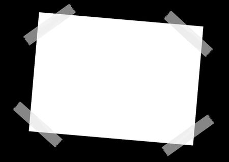 taped: taped white sheet on a black background.  Stock Photo