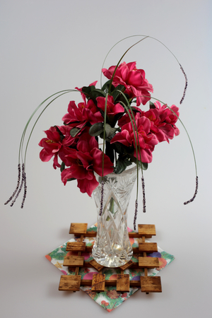 alphabet tree: red flowers in glass