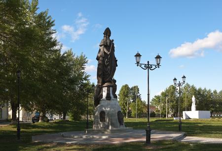 lenin: Monument to Catherine II and Lenin. Irbit. Russia.