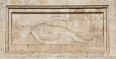 dying: Bas-relief depicting a dying Greek soldier. Athens. Editorial