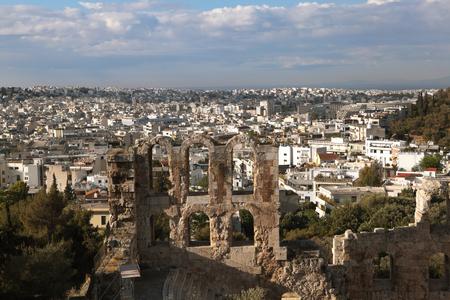 acropolis: Amphitheater Acropolis. Fragment. Athens, Greece.