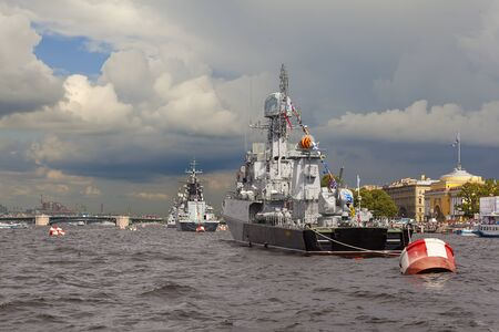 piter: Warships in the parade. St. Petersburg. Russia.