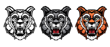Set of growling tiger heads