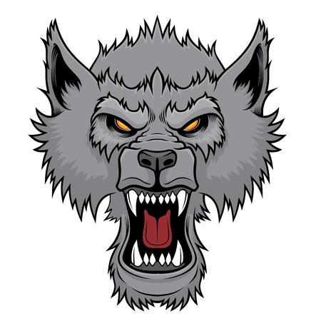 Testa di lupo che ringhia.