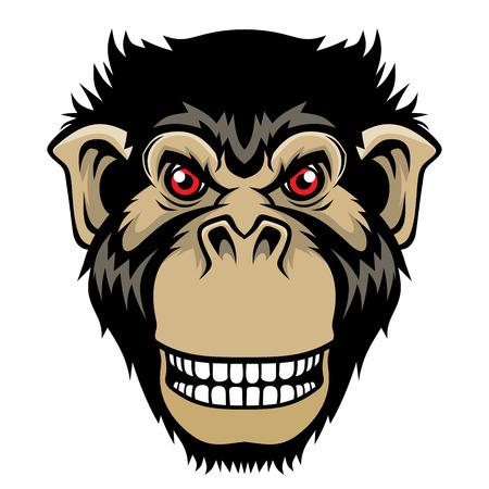 Angry monkey head. Illustration