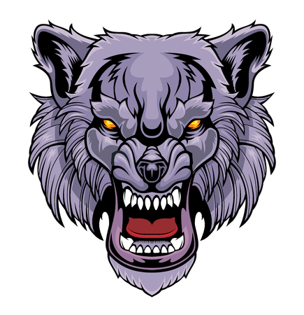 Head of a growling wolf. Illustration