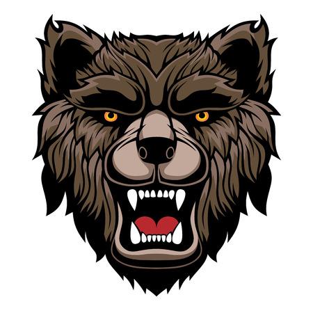 Mascota de cabeza de oso rugiente. Ilustración de vector