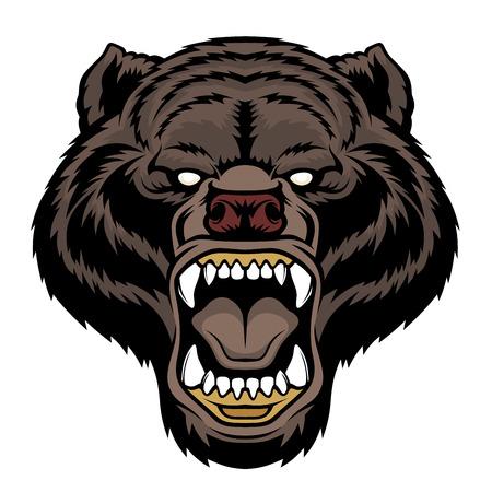 Mascotte de tête d'ours rugissant. Vecteurs