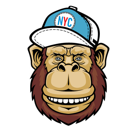 Smiling Monkey with cap hat.
