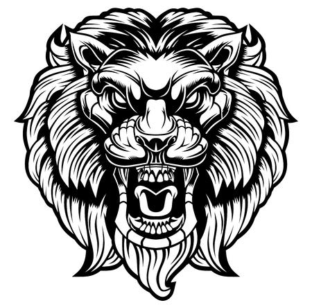 Angry lion head.
