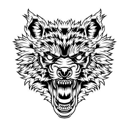 Cabeza de lobo gruñendo. Ilustración de vector