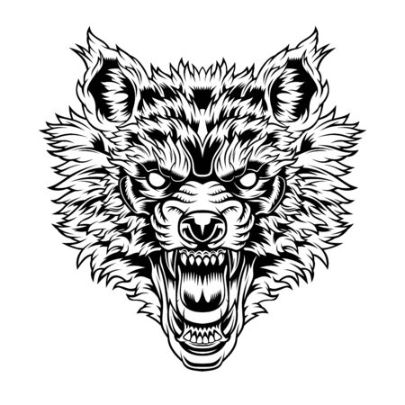 Kopf eines knurrenden Wolfes. Vektorgrafik