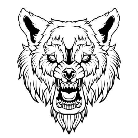 Kopf eines knurrenden Wolfes.