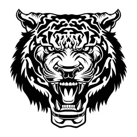 The head of a roaring tiger. Predatory grin. Stock Vector - 129012567