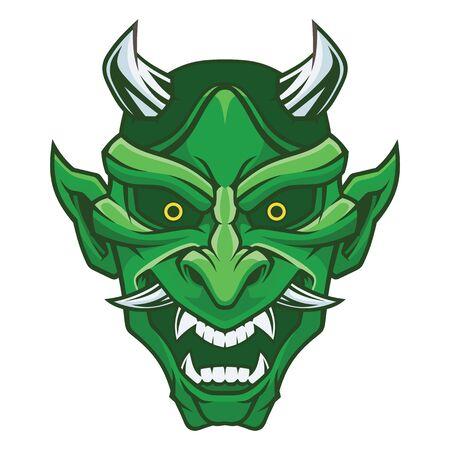 Maschera di Hannya. Maschera del demone. Vettoriali