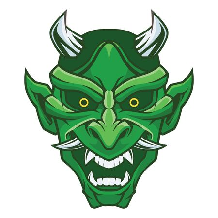 Masque de Hannya. Masque de démon. Vecteurs
