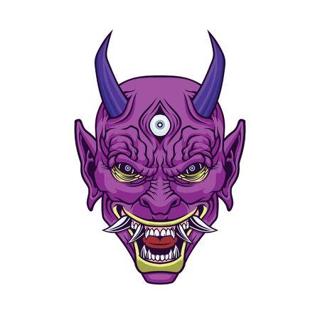 Demon head. Illustration