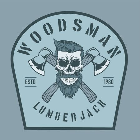 Lumberjack skull with crossed axes.