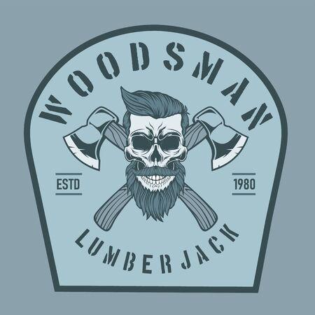 Lumberjack skull with crossed axes.