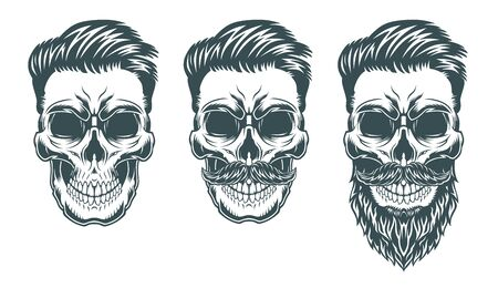 Skulls with Hipster hair, mustache and beards. Illustration