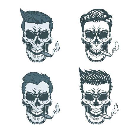 Human skulls smoking cigar. Illustration