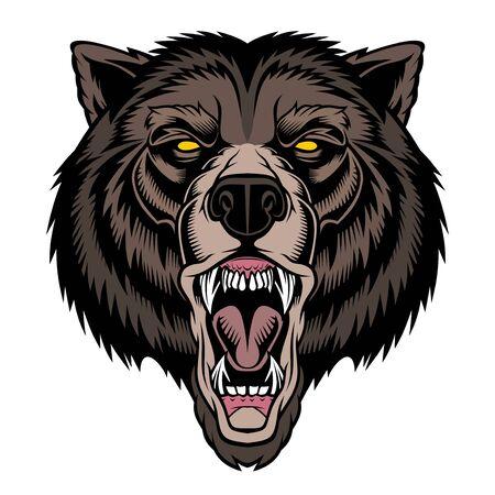 Roaring bear head mascot.