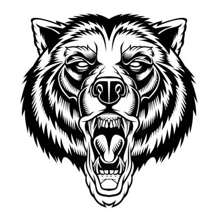 Mascota de cabeza de oso rugiente.