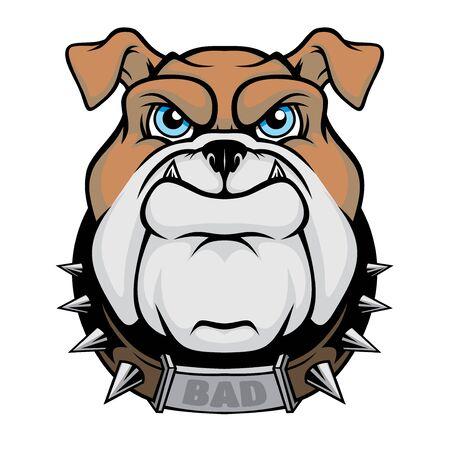Maskottchen mit Bulldogge-Kopf.