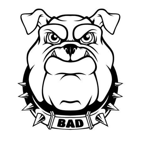 Mascota de cabeza de Bulldog. Ilustración de vector