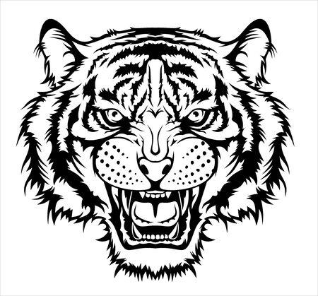 Ilustración de cabeza de tigre enojado.