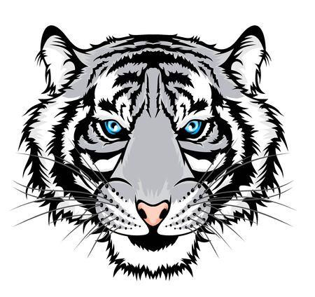 Ilustracja tygrysa, głowa dzikiego kota.