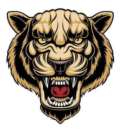 Illustration of Angry panther head. Stock Illustratie