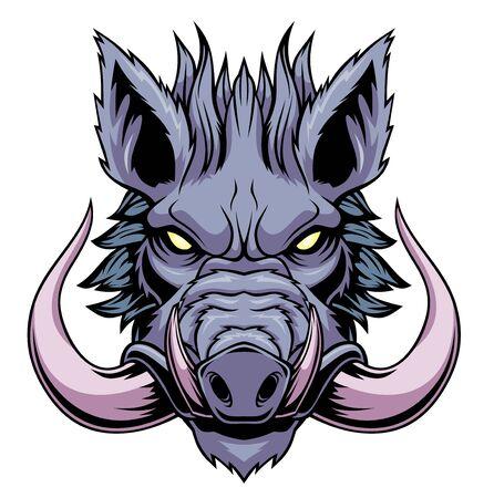 Ilustración de la mascota de la cabeza de jabalí.