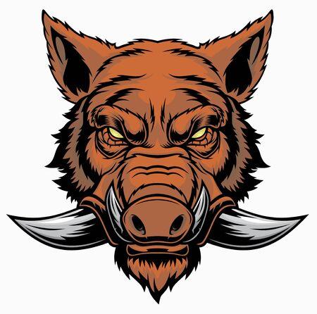 Ilustración de la mascota de la cabeza de jabalí. Ilustración de vector